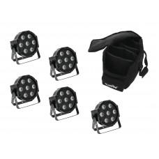 EUROLITE Set 5x LED SLS-7 HCL Spot + Soft Bag